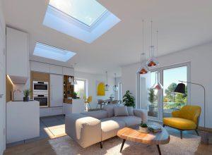 Okno dopłaskiego dachu zesferycznym modułem szklanym