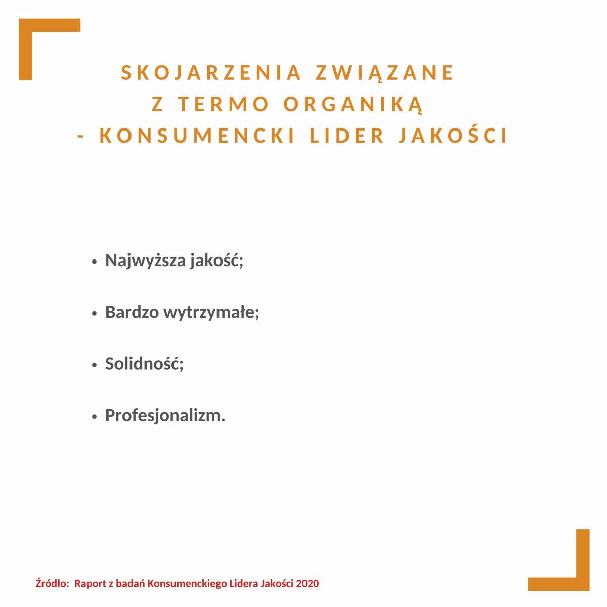 Skojarzenia konsumentów dot. marki Termo Organika, Konsumencki Lider Jakości 2020